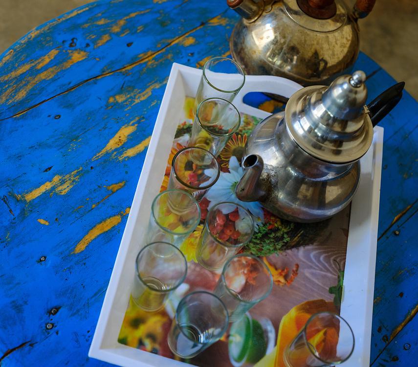 AIT BEN HADDOU, MOROCCO - CIRCA APRIL 2017: Detail of Moroccan  tea pot and glasses in Ait Ben Haddou.