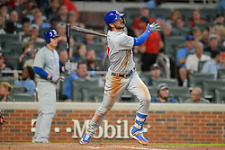May 15, 2018 - Atlanta, GA, U.S. - ATLANTA, GA Ð MAY 15:  Cubs third baseman Kris Bryant (17) hits a deep fly ball during the game between Atlanta and Chicago on May 15th, 2018 at SunTrust Park in Atlanta, GA. The Chicago Cubs defeated the Atlanta Braves by a score of 3 -2.  (Photo by Rich von Biberstein/Icon Sportswire) (Credit Image: © Rich Von Biberstein/Icon SMI via ZUMA Press)