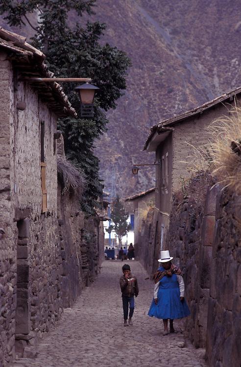 Ollantaytambo village, at the beginning of the sacred valley, Peru.