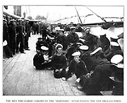 THE MEN WHO DARED SAILORS ON THE USS HARTFORD AFTER PASSING THE NEW ORLEANS FORTS from the book ' The Civil war through the camera ' hundreds of vivid photographs actually taken in Civil war times, sixteen reproductions in color of famous war paintings. The new text history by Henry W. Elson. A. complete illustrated history of the Civil war
