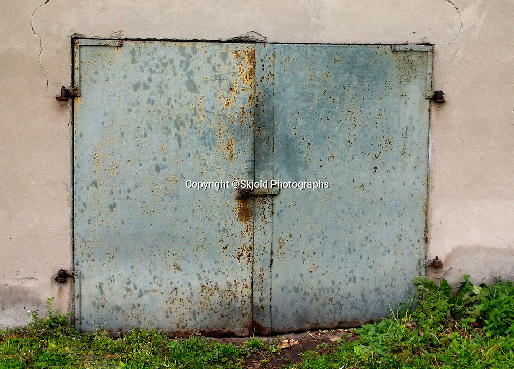 Metal storage room door.  Rawa Mazowiecka   Central Poland