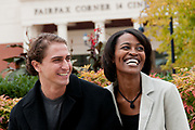 A couple laugh together at Fairfax Corner shopping center in Fairfax, Virginia.