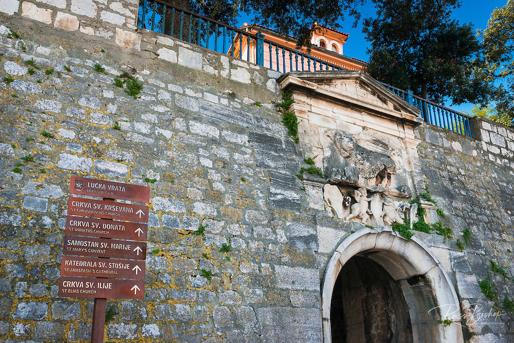 Interpretive sign at the stone Harbour Gate, historic old town Zadar, Dalmatian Coast, Croatia
