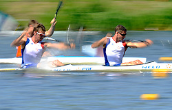 ARNAUD HYBOIS & SEBASTIEN JOUVE (BOTH FRANCE) COMPETE IN MEN'S K2 200 METERS QUALIFICATION RACE DURING 2010 ICF KAYAK SPRINT WORLD CHAMPIONSHIPS ON MALTA LAKE IN POZNAN, POLAND...POLAND , POZNAN , AUGUST 21, 2010..( PHOTO BY ADAM NURKIEWICZ / MEDIASPORT ).