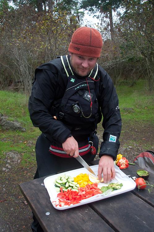 Jason Prepares Lunch, Posey Island, Washington, US