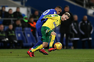 James Maddison of Norwich city holds off Loic Damour of Cardiff city. EFL Skybet championship match, Cardiff city v Norwich city at the Cardiff city stadium in Cardiff, South Wales on Friday 1st December 2017.<br /> pic by Andrew Orchard, Andrew Orchard sports photography.