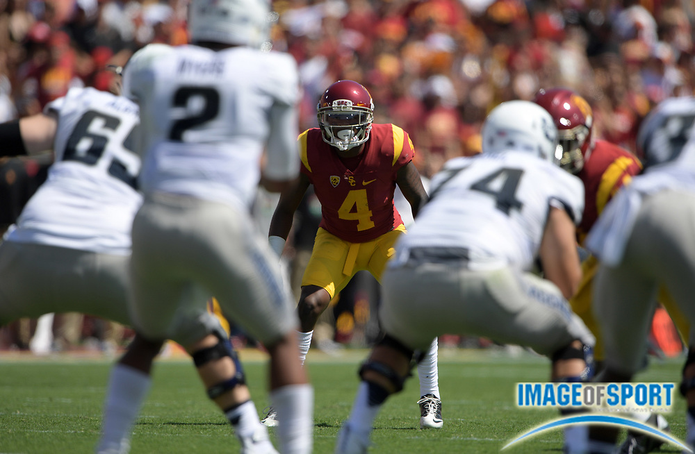 Sep 10, 2016; Los Angeles, CA, USA; USC Trojans defensive back Chris Hawkins (4) during a NCAA football game against the Utah State Aggies at Los Angeles Memorial Coliseum.
