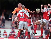 Hand Ball. Philippe Senderos (Ars) handles the ball and Sheffield are given a last minute Penalty. Arsenal v Sheffield United. FA Cup 5th rd. 19/2/2005. Credit : /Andrew Cowie.
