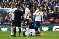Harry Kane of Tottenham Hotspur receives treatment. Premier league match, Tottenham Hotspur v Crystal Palace at Wembley Stadium in London on Sunday 5th November 2017.<br /> pic by Steffan Bowen, Andrew Orchard sports photography.