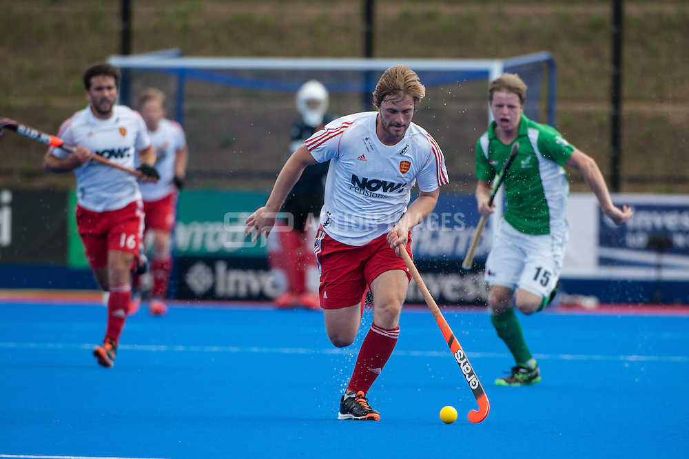 Ashley Jackson (ENG) on the ball. Final of the Investec London Cup, Lee Valley Hockey & Tennis Centre, London, UK on 13 July 2014. Photo: Simon Parker