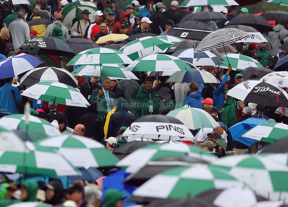 April 7, 2018 - Augusta, GA, USA - Rain falls during the third round of the Masters Tournament on Saturday, April 7, 2018, at Augusta National Golf Club in Augusta, Ga. (Credit Image: © Curtis Compton/TNS via ZUMA Wire)