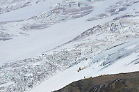 Tents at climbers camp overlooking Coleman Glacier, Mount Baker Wilderness North cascades Washington