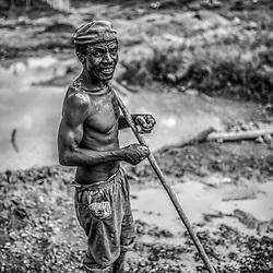 Fea0093883. DT News.Tananarive a mining village near AMBATONDRAZAKA,The Ankeniheny-Zahamena Corridor, Madagascar.Pic Shows Edmond Rakoto a miner from Madagascar looking for sapphires in the village of Tananarive