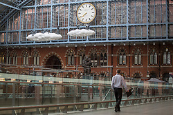 © licensed to London News Pictures. London, UK 18/04/2013. Cloud Meteoros, a new piece of public art by Lucy Orta, has been unveiled above the Grand Terrace at St Pancras International station in London on Thursday, 18 April 2013. Photo credit: Tolga Akmen/LNP