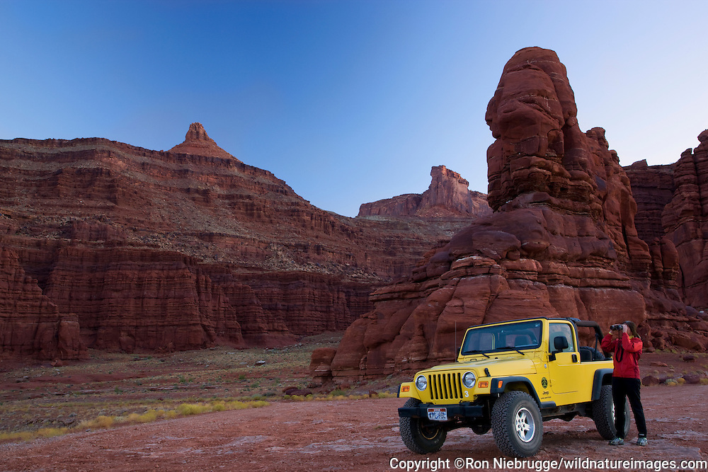 Jeep along Potash Road, Island in the Sky District, Canyonlands National Park, near Moab, Utah.
