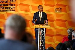 © Licensed to London News Pictures. 14/11/2019. London, UK. Chuka Umunna  gives a speech at Glaziers Hall, London for the Lib Dems Press Conference. Luciana Berger and Chuka Umunna unveil the Lib Dems party's Plan for Equalities and Human Rights. The plan is at the heart of the party's vision to build a brighter future for everyone. Photo credit: Alex Lentati/LNP