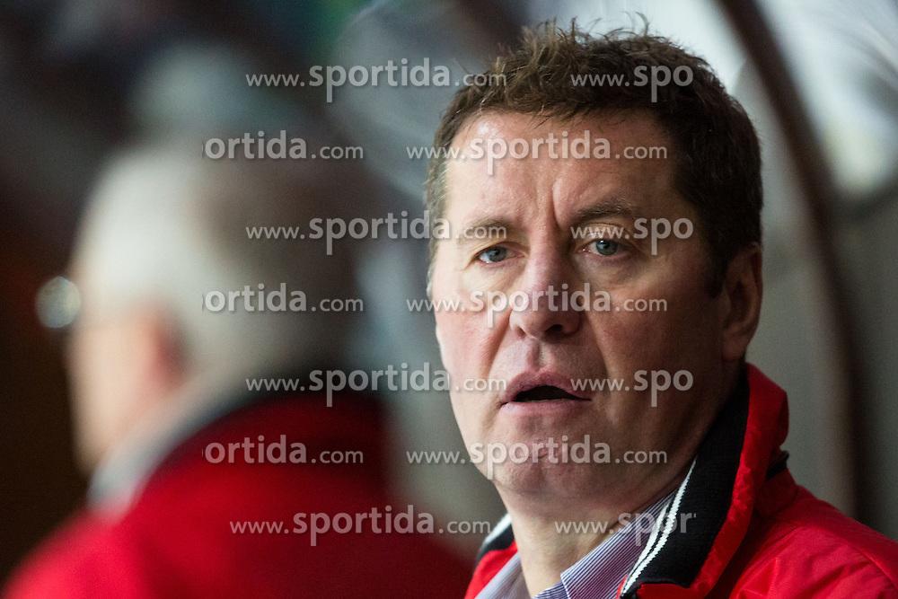 Marjan Kozar, head coach of Jesenice Mladi, during Erste Bank Young Stars League ice hockey match between HD Jesenice Mladi and HK Olimpija, on November 4, 2012 in Ledena dvorana Bled, Bled, Slovenia. (Photo by Matic Klansek Velej / Sportida.com)