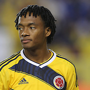 Juan Cuadrado, Colombia, during the Colombia Vs Canada friendly international football match at Red Bull Arena, Harrison, New Jersey. USA. 14th October 2014. Photo Tim Clayton