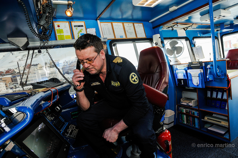 Honningsvag, Magne Vikten, sea master of the RS Ulabrand, a rescue boat of the Rednings Seiskapet, the Norway's humanitarian, voluntary, membership-based organisation to save lifes and safeguard the coastal environment.