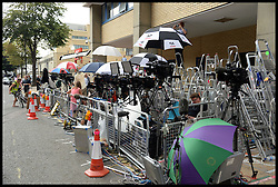 Ladders in the press pen outside the Lindo Wing of St Mary's Hospital, London,United Kingdom. As the press wait for the birth of The Duchess of Cambridge's baby. <br /> Wednesday, 17th July 2013<br /> Picture by Andrew Parsons / i-Images