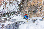 Jake Hirschi on p5 of the rare to form 10 pitch Frozen Assets WI5, North Creek Canyon, Utah