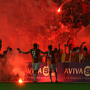 Galatasaray's players with supporters are protesting their team during their Turkish Super Cup 2012 soccer derby match Galatasaray between Fenerbahce at the Kazim Karabekir stadium in Erzurum Turkey on Sunday, 12 August 2012. Photo by TURKPIX