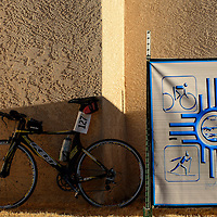 021514  Adron Gardner/Independent<br /> <br /> A bicycle sits in the shadows before the 2014 Mount Taylor Winter Quadrathlon in Grants Saturday.