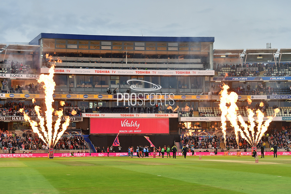 Sussex and Worcestershire come on to the field for the final during thefinal of the Vitality T20 Finals Day 2018 match between Worcestershire Rapids and Sussex Sharks at Edgbaston, Birmingham, United Kingdom on 15 September 2018.