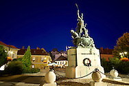 Statue of Istvan Dobo, Dobo square, Eger, Hungary .<br /> <br /> Visit our HUNGARY HISTORIC PLACES PHOTO COLLECTIONS for more photos to download or buy as wall art prints https://funkystock.photoshelter.com/gallery-collection/Pictures-Images-of-Hungary-Photos-of-Hungarian-Historic-Landmark-Sites/C0000Te8AnPgxjRg