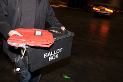 © Licensed to London News Pictures . 15/11/2012 . Manchester , UK . Ballot box being unloaded at the count . By elections in Manchester Central and Ardwick and Greater Manchester Police and Crime Commissioner ( PCC ) Election counts at Manchester Central Convention Centre . Photo credit : Joel Goodman/LNP