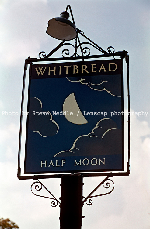 Pub Signs, Half Moon, Hildenborough, Kent, Britain