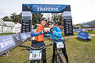 Johan and Ronelle Engelbrecht celebrate at the finish of day two of the Glacier Storms River Traverse mountain bike stage race held at the The Tsitsikamma Village Inn situated in Storms River Village on the Garden route, South Africa on the 6th August 2016<br /> <br /> Photo by: Oakpics.com / Dryland Event Management / SPORTZPICS<br /> <br /> <br /> {dem16gst}