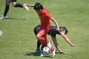 Canterbury United's Yuya Taguchi attempts to step through a tackle in the Handa Premiership football match, Hawke's Bay United v Canterbury United, Bluewater Stadium, Napier, Sunday, December 06, 2020. Copyright photo: Kerry Marshall / www.photosport.nz