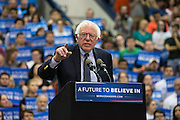 Bernie Sanders speaks at a campaign rally at Penn State University.