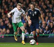 James McClean of Ireland accelerates past Russell Martin of Scotland - UEFA Euro 2016 Qualifier - Scotland vs Republic of Ireland - Celtic Park Stadium - Glasgow - Scotland - 14th November 2014  - Picture Simon Bellis/Sportimage
