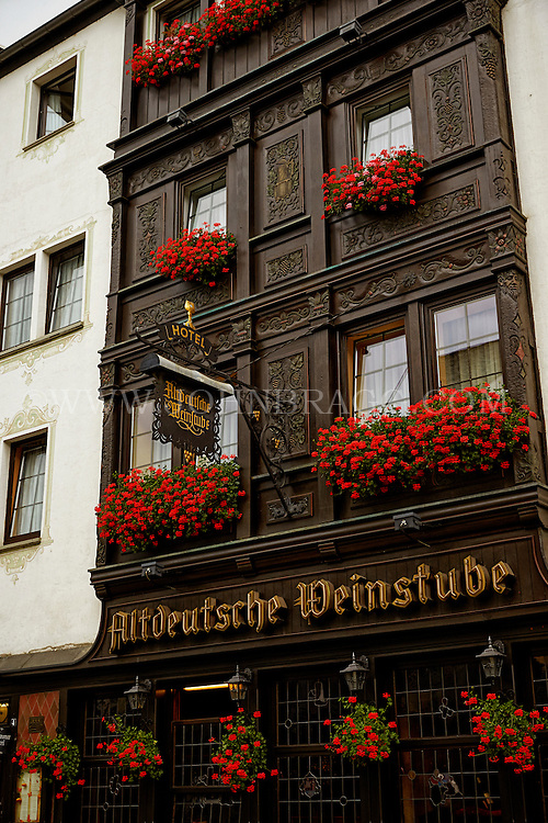 View outside of the Altdeutsche Weinstube Hotel and Restaurant, Flower Boxes, and Architectural Detail, Rüdesheim, Germany (Vertical).