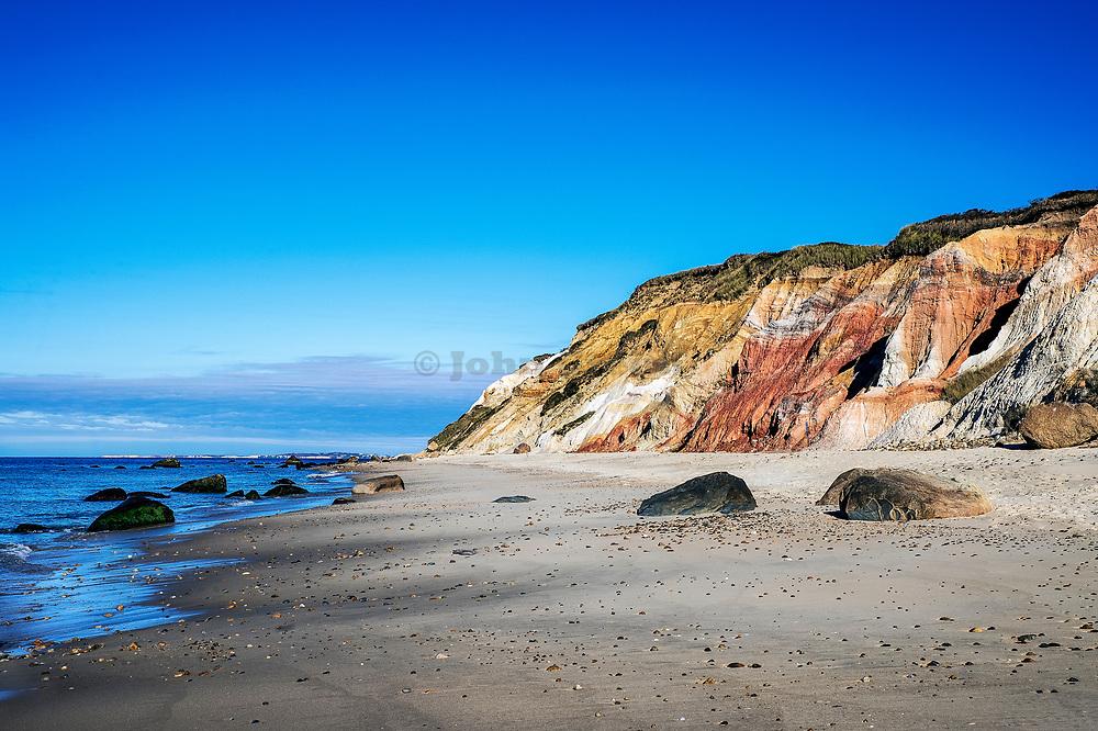 Moshup beach and clay cliffs, Aquinnah, Martha's Vineyard, Massachusetts, USA.