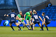 Harlequins flanker Chris Robshaw runs at then Sale Sharks defence  during a Gallagher Premiership match at the AJ Bell Stadium, Eccles, Greater Manchester, United Kingdom, Friday, April 5, 2019. (Steve Flynn/Image of Sport)