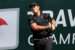 June 21, 2018 - Cromwell, CT, U.S. - CROMWELL, CT - JUNE 21: Patrick Reed of the United States reacts to his tee shot on 1 during the First Round of the Travelers Championship on June 21, 2018, at TPC River Highlands in Cromwell, Connecticut. (Photo by Fred Kfoury III/Icon Sportswire) (Credit Image: © Fred Kfoury Iii/Icon SMI via ZUMA Press)