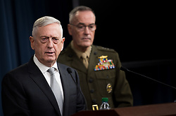April 13, 2018 - Washington, District of Columbia, U.S. - Defense Secretary JAMES MATTIS, the Chairman of the Joint Chiefs of Staff, Marine Gen. JOSEPH DUNFORD, JR., brief reporters on the current U.S. air strikes on Syria during a joint press conference at the Pentagon. (Credit Image: © U.S. Army/DOD via ZUMA Wire/ZUMAPRESS.com)