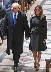 United States President Donald J. Trump and first lady Melania Trump arrive for the National funeral service in honor of the late former United States President George H.W. Bush at the Washington National Cathedral in Washington, DC on Wednesday, December 5, 2018.<br /> Photo by Ron Sachs / CNP/ABACAPRESS.COM
