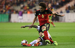 October 10, 2017 - Brussels, BELGIUM - Cyprus' Grigoris Kastanos and Belgium's Axel Witsel fight for the ball during a soccer game between Belgian national team Red Devils and Cyprus, in Brussels, Tuesday 10 October 2017, game 9 in Group H of the qualifications for the 2018 World Cup. BELGA PHOTO VIRGINIE LEFOUR (Credit Image: © Virginie Lefour/Belga via ZUMA Press)