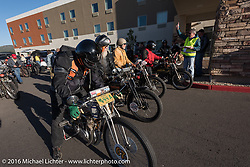 Bill Rodencal and all of the Class II bikes ready to leave the start in Williams, AZ during the Motorcycle Cannonball Race of the Century. Stage-13 ride from Williams, AZ to Lake Havasu CIty, AZ. USA. Friday September 23, 2016. Photography ©2016 Michael Lichter.