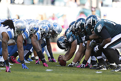 Philadelphia Eagles and Detroit Lions specials teams line up on the line of scrimmage during the NFL game between the Detroit Lions and the Philadelphia Eagles on Sunday, October 14th 2012 in Philadelphia. The Lions won 26-23 in Overtime. (Photo by Brian Garfinkel)