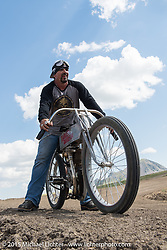 Billy Lane of Choppers Inc. on a 1910 Harley-Davidson flat tracker at the Broken Spoke Campground during the 75th Annual Sturgis Black Hills Motorcycle Rally.  SD, USA.  August 6, 2015.  Photography ©2015 Michael Lichter.