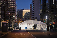 One of many checkpoints in DC  in Washington DC, set up  to secure Biden's inuguration after the insurgency on Jan. 6, 2021.