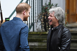 The Duke of Sussex visits Abbey Road Studios to meet Jon Bon Jovi and members of the Invictus Games Choir, who are recording a special single in aid of the Invictus Games. <br />Photo credit should read: Doug Peters/EMPICS