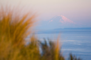 View of the Strait of Juan de Fuca and Mount Rainier from the Bluff Trail in Fort Ebey State Park, on Whidbey Island.