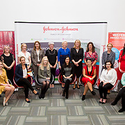 13.09.17.            <br /> Global healthcare company, Johnson & Johnson (J&J) and University of Limerick (UL) have begun Year 2 their collaborative STEM education programme known as WiSTEM2D. The programme is designed to encourage female students to study science, technology, engineering and mathematics. Pictured at a university event to highlight student research findings from Year 1 of the programme were back row let to right, Mark Benson, J&J, Michelle Finan, J&J, Diane Hassett, J&J, Marguerite O'Sullivan, J&J, Jane-Ann Fitzgerald, J&J, LIZ Dooley, J&J, Leisha Daly, J&J, Dr. Mary Shire, Vice President Research, UL, Anna Rafferty, J&J, Dr. Regina Kelly, UL and Kyran Johnson, Janssen. Front row left to right, Siobhan Phelan, Marie Salova, Janice O'Gorman, Easa Man, Jessica Silva, Niamh Sheahan and Kristine Surat. Picture: Alan Place