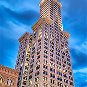 The Smith Tower in the Pioneer Square district is Seattle's oldest sky scraper.  Completed in 1914 it was the tallest building on the west coast (42 floors) until the Space Needle was built in 1962.
